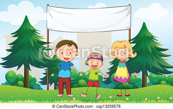 A family at the park with an empty banner - csp13259578