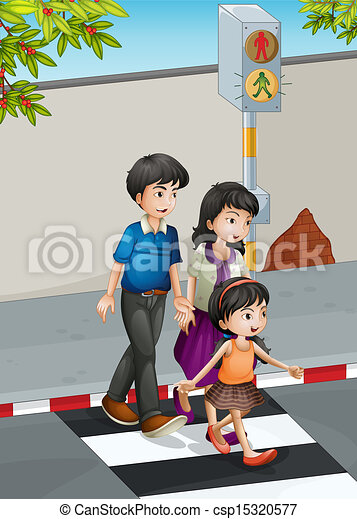 A family crossing the street - csp15320577