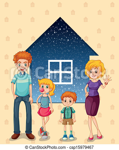 A family in front of the house - csp15979467