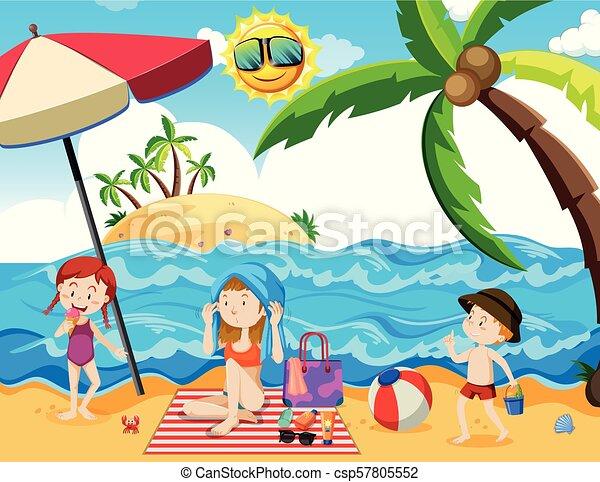 A Family Summer Holiday At Beach Illustration