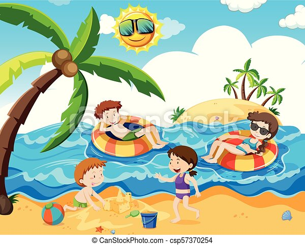 A Family Trip At Th Beach Illustration