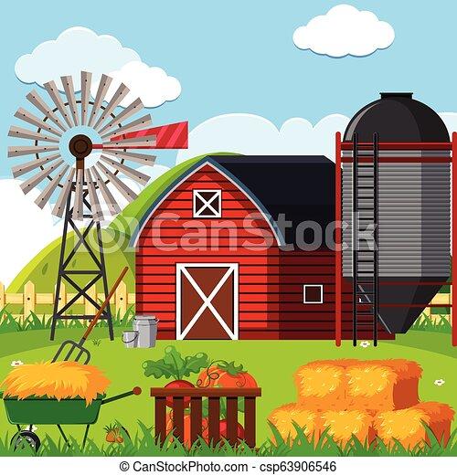 a farm landscape scene illustration