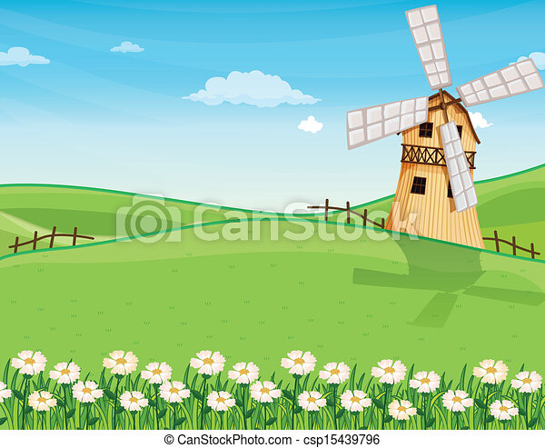 A farmhouse above the hills with a windmill - csp15439796