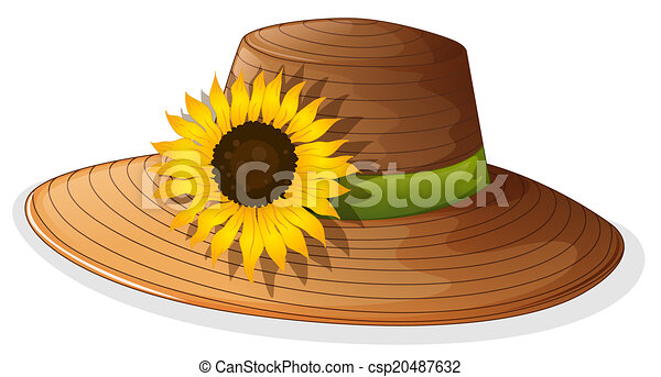 Sunflower Line Drawing : Illustration of a fashionable hat with sunflower on vectors