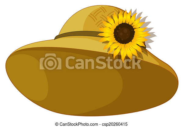 Sunflower Line Drawing : Illustration of a fashionable hat with sunflower on vector