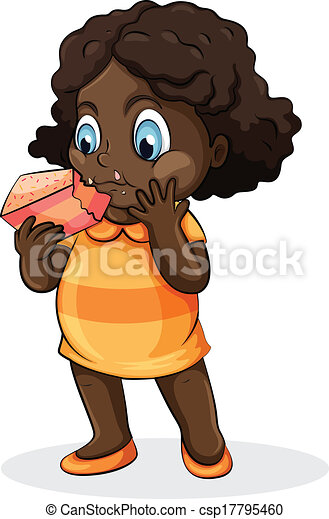 Illustration Of A Fat Black Lady Eating A Cake On A White