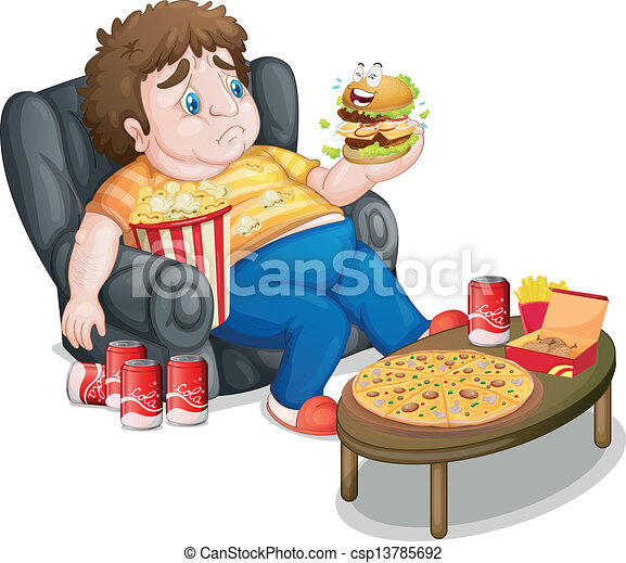 A Fat Boy In Front Of A Lots Of Foods Illustration Of A