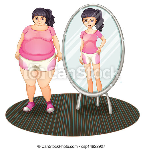 A fat girl and her slim version in the mirror - csp14922927