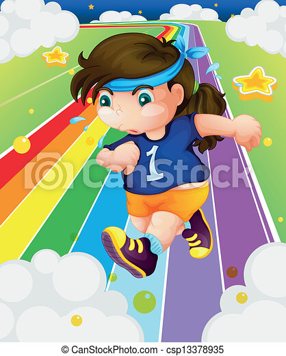 A fat girl running - csp13378935