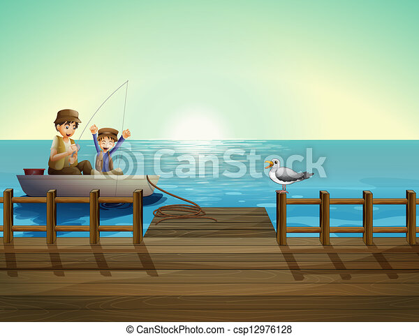 A father and a child fishing near the bridge - csp12976128