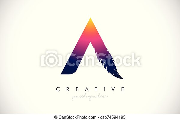 A Feather Letter Logo Icon Design With Feather Feathers Creative Look Vector Illustration - csp74594195