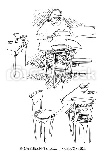 a fellow has dinner at the table in a cafe - csp7273655