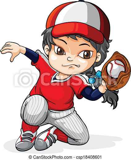 illustration of a female asian baseball player on a white vector rh canstockphoto com baseball player clipart silhouette clipart girl baseball player