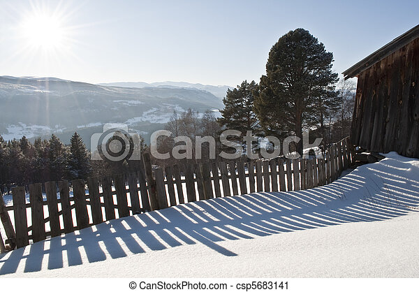 a fence in the snow - csp5683141