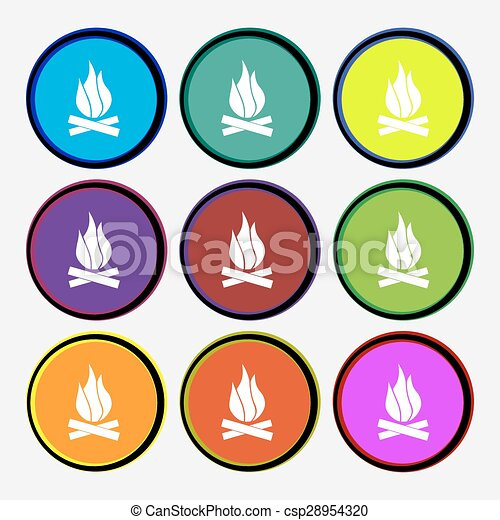 A fire icon sign. Nine multi colored round buttons. Vector - csp28954320