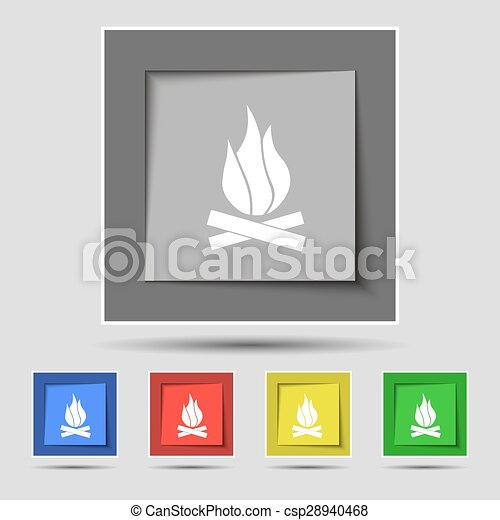 A fire icon sign on original five colored buttons. Vector - csp28940468