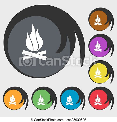 A fire icon sign. Symbol on eight colored buttons. Vector - csp28939526