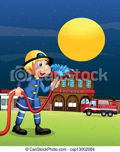 A fireman holding  a hose - csp13002084