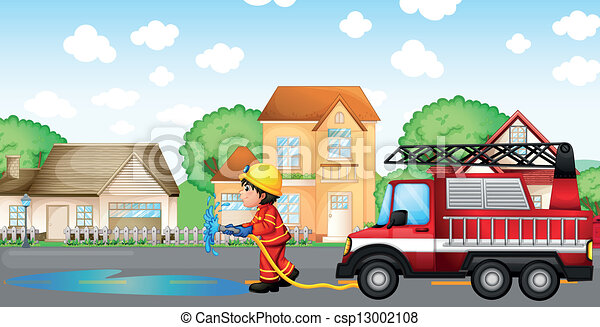 A fireman holding a hose with a fire truck at the back - csp13002108