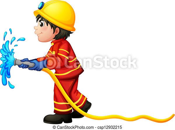 A fireman holding a water hose - csp12932215