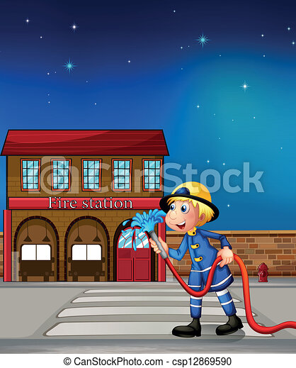 A fireman near a fire station - csp12869590