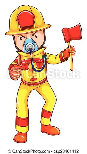A fireman wearing a yellow uniform - csp23461412