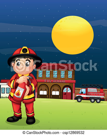 A fireman with a fire extinguisher - csp12869532
