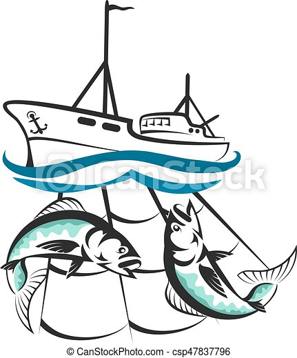 A Fishing Boat With A Catch Silhouette A Fishing Boat With A Catch For Business