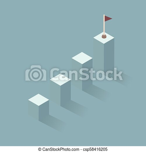 A flag of success. bar graph business to the success of the financial schedule. Leader, winner and concept of success. Vector illustration - csp58416205