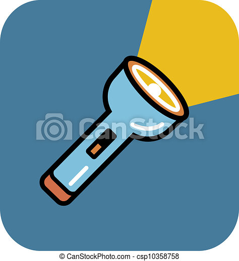 stock illustrations of a flashlight on blue background csp10358758