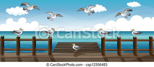 A flock of birds - csp12356483