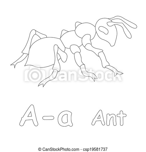 A for ant coloring page.