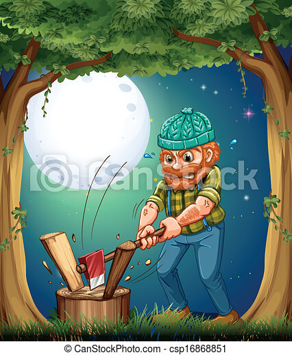 A forest with a hardworking woodman chopping woods - csp16868851