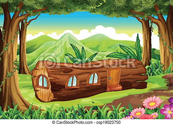 A forest with a log house - csp19023750