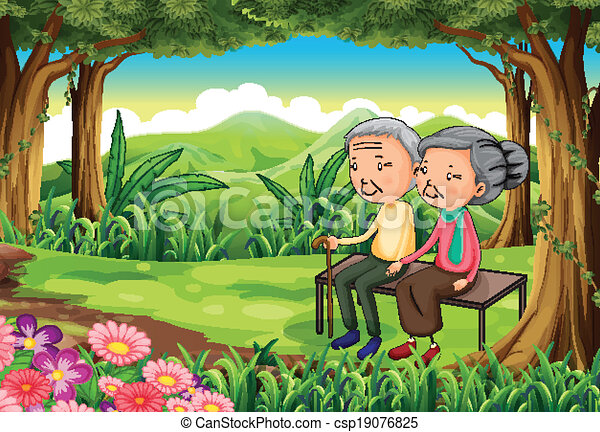 A forest with an old couple - csp19076825