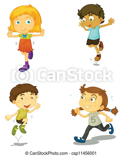 illustration of a four kids on a white background vector clipart