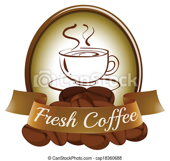 A fresh coffee label with a cup of hot coffee - csp18360688