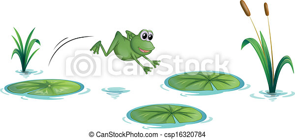 A frog at the pond with waterlilies - csp16320784