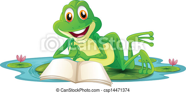 A frog lying while reading a book - csp14471374