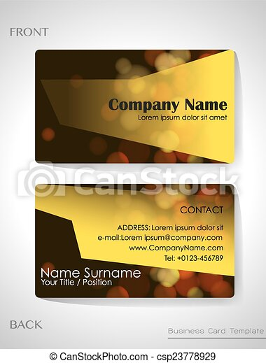 A Front And Back Business Card Template Vector Illustration - Front and back business card template