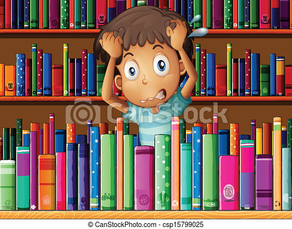 A frustrated young man in the library - csp15799025