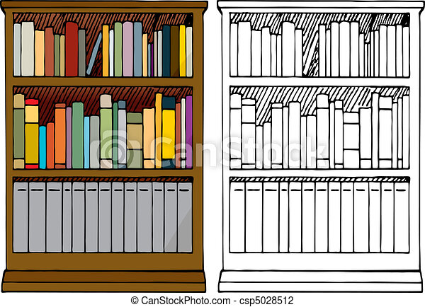 A Full Bookshelf Various Kinds Of Blank Books Placed In A