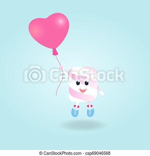 A funny boy Marshmallow with balloon cartoon character - csp69046568