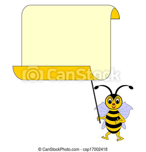 A funny cartoon bee with a big blank paper - csp17002418