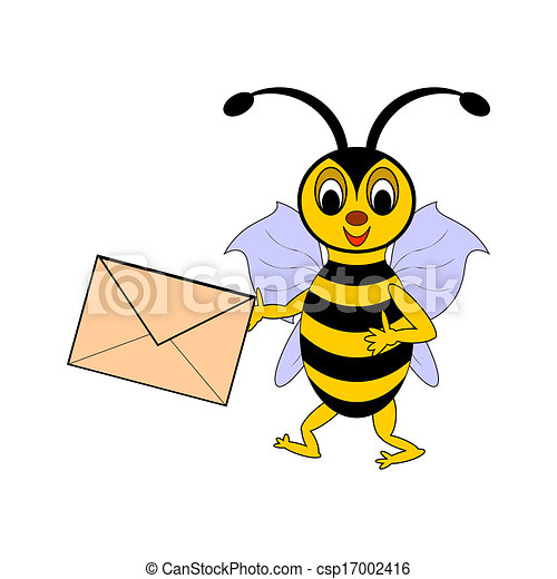 A funny cartoon bee with a letter in its hand - csp17002416