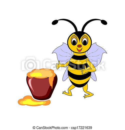 A funny cartoon bee with a pot of honey - csp17221639