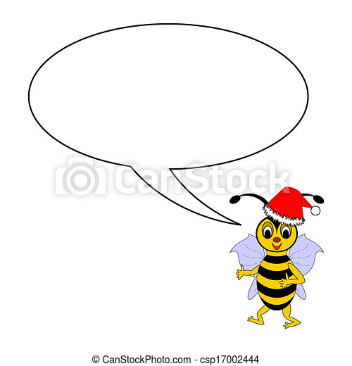 A funny Christmas cartoon bee with a talking bubble - csp17002444