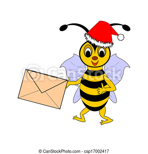 A funny Christmas cartoon bee with a letter in its hand - csp17002417