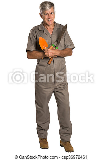 A gardener with tools, isolated on white Background. - csp36972461