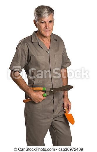 A gardener with tools, isolated on white Background. - csp36972409